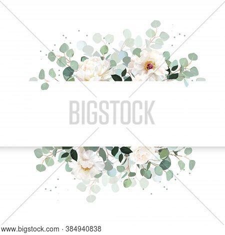 Wedding Silver Dollar Eucalyptus Horizontal Vector Design Banner. White Rose, Peony Flower. Rustic G