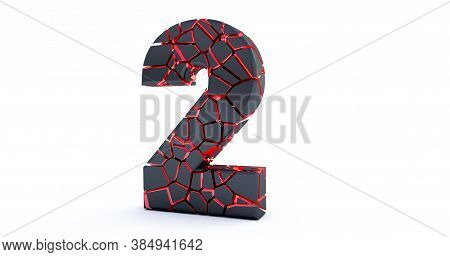 3d Render Of  Broken Number Isolated On White Background (number 2). Cracked 3d Number 2 Two.