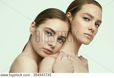 Two Beautiful Sensual Young Girls With Clean Fresh Face Skin