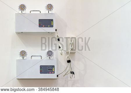 Automatic Emergency Light With Two Lamps Install On Wall When Power Outage