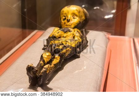 Cairo, Egypt - December 8, 2018: Ancient Mummy Of Child In Museum Of Egyptian Antiquities, Known Com