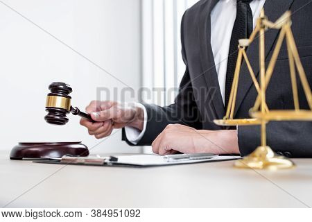 Judges Gavel, Professional Male Lawyers Work At A Law Office There Are Scales, Scales Of Justice, Ju