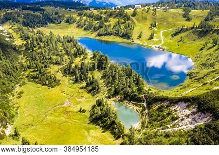 Großsee And Märchensee At The Tauplitzalm. Aerial View Of 2 Beautiful Idyllic Lakes In The European