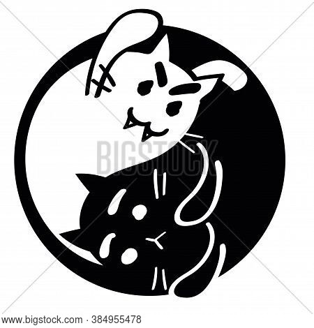 Yin Yang Halloween Ghost And Scared Cats. Black And White Kitten, Undead And Alive, Isolated. Monoch