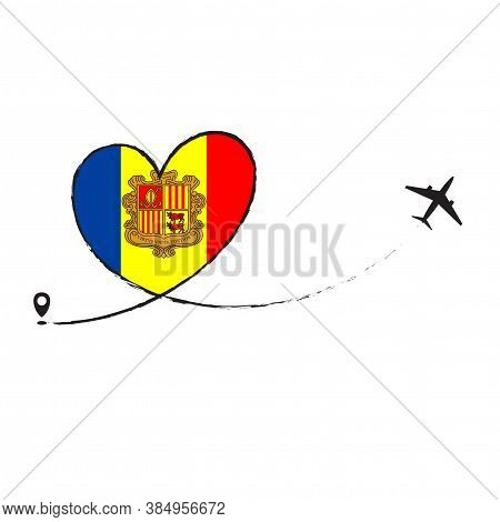 Flag Andorra Love Romantic Travel Airplane Air Plane Aircraft Aeroplane Flying Fly Jet Airline Line