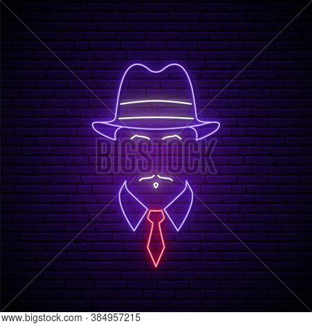 Mafioso Neon Sign. Man In Hat Icon. Neon Signboard. Mafia Symbol In Neon Style. Stock Vector Illustr