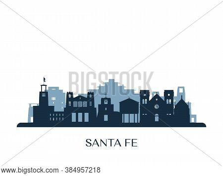 Santa Fe Skyline, Monochrome Silhouette. Vector Illustration.