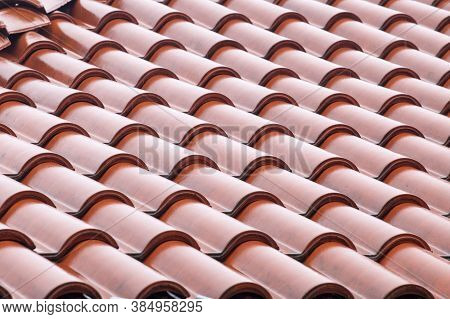 Roof Tiles Close Up Detail. Background Of Tiles