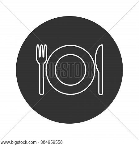 Fork Knife And Plate Icon Logo. Simple Flat Shape Restaurant Or Cafe Place Sign. Kitchen And Diner M