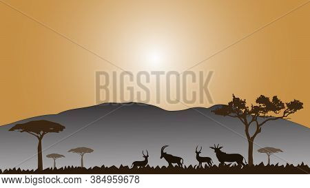 Full Frame Silhouette Family Of Deer In The Grassland On The Multicolor Background.