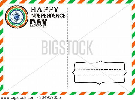 Happy Indian Independence Day Postcard. Lettering For Independence Day Of India. Logo By August 15th