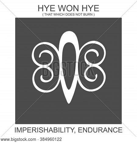 Vector Icon With African Adinkra Symbol Hye Won Hye. Symbol Of Imperishability And Endurance