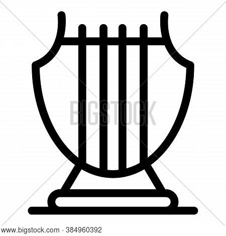 Greek Harp Icon. Outline Greek Harp Vector Icon For Web Design Isolated On White Background