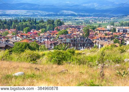Bansko, Bulgaria Summer Aerial Old Town Panorama Of Bulgarian All Season Resort