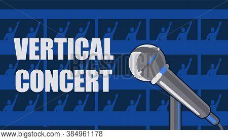 Vertical Concert Invitation Poster. In Rooms On Floors Of Hotel, Spectators Neighbors Dancing And Li