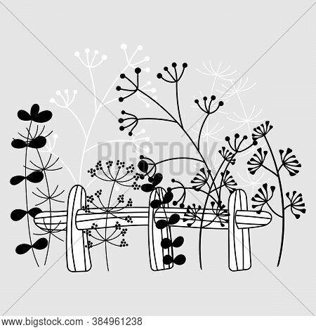 A Small Fence, Hedge And Plants Next To It. Country Landscape, Flower Beds. Black And White Hand Dra