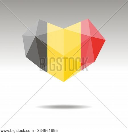 Vector Crystal Gemstone Jewelry Heart With The Flag Of Belgium. Flat Logo Style Is A Symbol Of Belgi