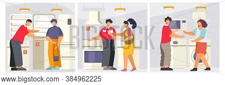 Appliance Store Set Of Flat Square Compositions With People In Domestic Appliances Store With Shop C