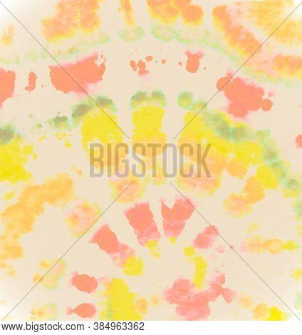 Watercolor Dyed Background. Circle Cool Style. Batik Patterns. Color Roll. Tie Die Circular Kaleidos