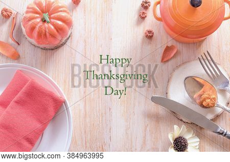 Thanksgiving Table Settings, Dinner Plate And Cutlery, Orange Napkin With Traditional Pumpkin And Dr