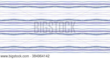 Geometric Handmade Brushstrokes. White Water Lines Repeat. Seamless Vintage Art Illustration. Blue H