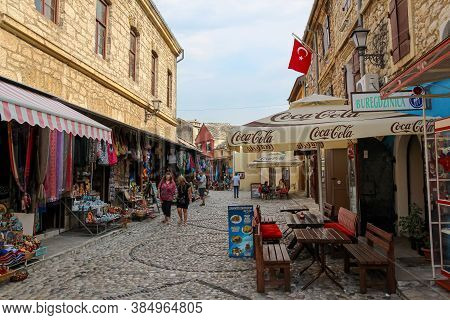 Mostar, Bosnia And Herzegovina - July 4th 2018: A Quiet Kujundžiluk Street In Central Mostar, In The