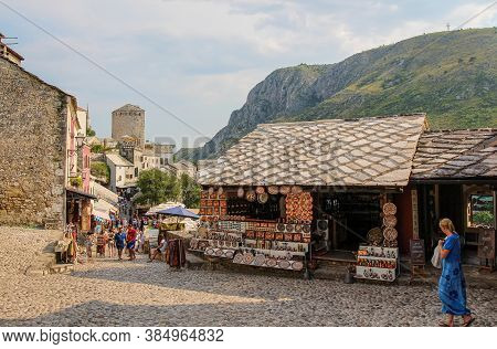 Mostar, Bosnia And Herzegovina - July 4th 2018: Looking Down Kujundžiluk Street In The Old Town In C