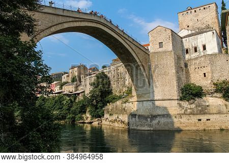 Mostar, Bosnia And Herzegovina - July 4th 2018: Close Up Of The Historic Arched Old Bridge Of Mostar