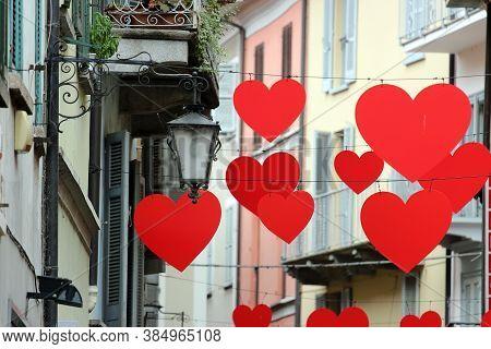 Heart Shaped Symbols In The Streets Of Arona, Italy