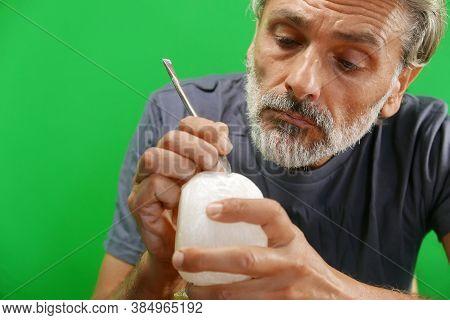 Hand Processing Alabaster Stone Craftsman At Work