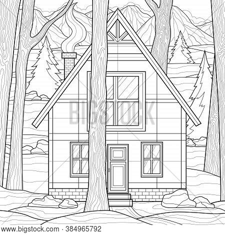 House Among The Trees. Mountains On The Background.coloring Book Antistress For Children And Adults.