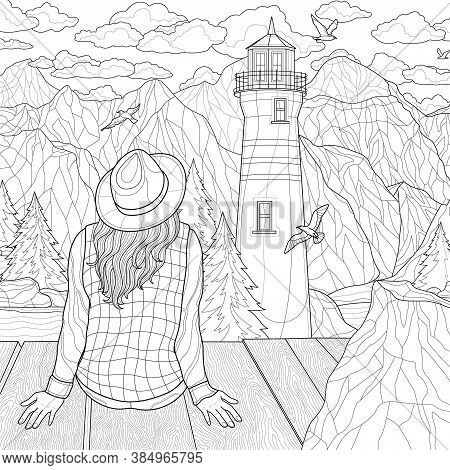 Landscape. Girls Sitting On The Bridge And Looking At The Lighthouse.coloring Book Antistress For Ch