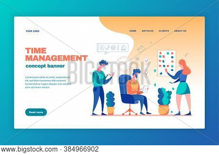 Effective Time Management Concept Web Page Banner With Task Planning Working Under Pressure Projects