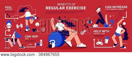 Regular Physical Activity Benefits Flat Infographic Banner With Fitness Muscle Strength Weight Loss