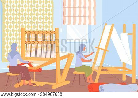 Carpet Production Process With Women Working At Weaving Looms Flat Vector Illustration