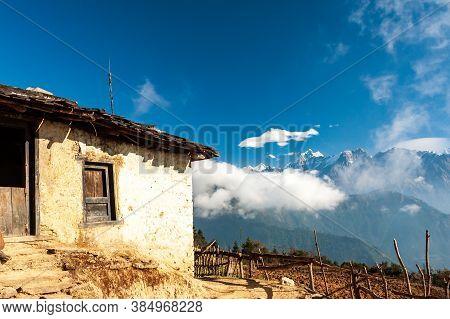 Outdoor Of Traditional Nepalese House Taksindu La Pass. Taksindu Village. Trekking In Nepal Himalaya