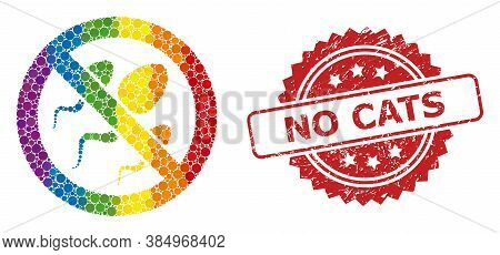Forbidden Sperm Mosaic Icon Of Round Items In Different Sizes And Lgbt Color Tinges, And No Cats Cor