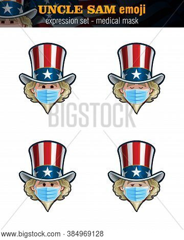 Vector Illustrations Set Of Cartoon Uncle Sam Emoji, Wearing Surgical Mask. Four Expressions, Happy,