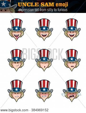 Vector Illustrations Set Of Cartoon Uncle Sam Emoji. Nine Expressions, Silly, Laughing, Happy, Smili