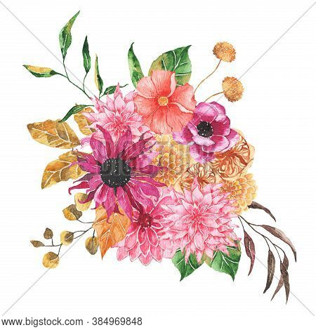 Watercolor Autumn Floral Bouquet With Flowers Roses Dahlia Peony Orange Greenery Leaves Foliage Isol