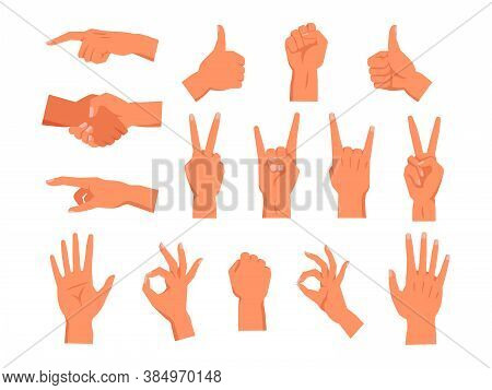 Set Of Hand Gesture. Non Verbal Palm Symbol. Clenched Or Raised Fist, Finger Pointing Or Touch, Thum