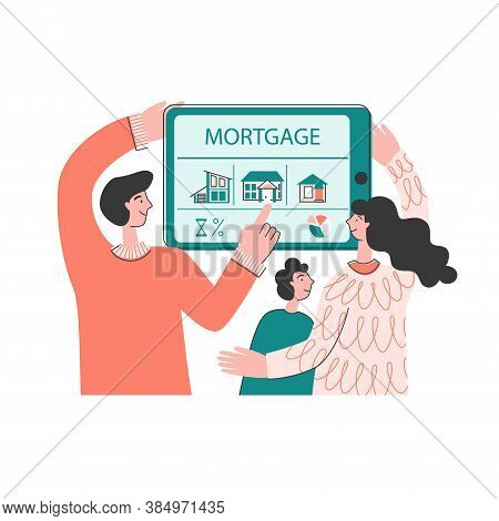 The Family Buys A House With A Mortgage. A Family With A Child Chooses A Home On A Tablet. Rent And