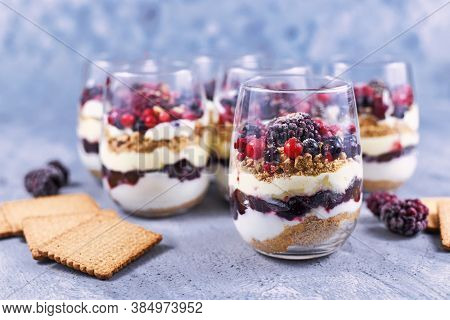 Homemade Layered Red Berry Fruit, Cookie Crumbs And Cheesecake Cream Dessert In Glasses