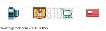Set Pos Terminal With Credit Card, Shopping Cart On Computer, And Credit Icon. Vector