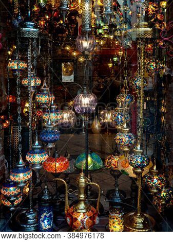 Crystal Lamps For Sale On The Grand Bazaar At Istanbul, Storefront