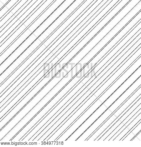 Diagonal Thin Dashed Black Lines Abstract On White Background. Seamless Surface Pattern With Linear