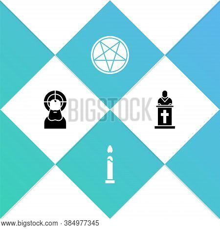 Set Jesus Christ, Burning Candle, Pentagram Circle And Church Pastor Preaching Icon. Vector