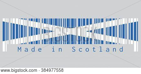 Barcode Set The Color Of Scotland Flag, It Is A Blue Field With A White Diagonal Cross That Extends