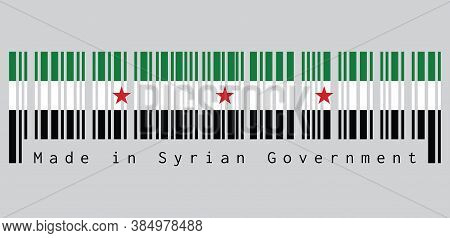 Barcode Set The Color Of Syrian Flag, A Horizontal Tricolor Of Green White And Black With Three Red