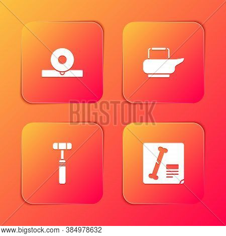Set Otolaryngological Head Reflector, Bedpan, Neurology Reflex Hammer And X-ray Shots Icon. Vector